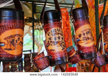 Asuncion, Paraguay - December 26: Display Of Mate Thermoses At The Street Market On December 26, 201
