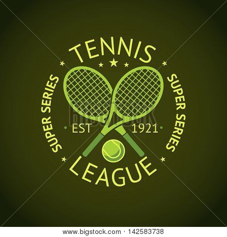 Tennis League super series label badge for your club. Vector illustration