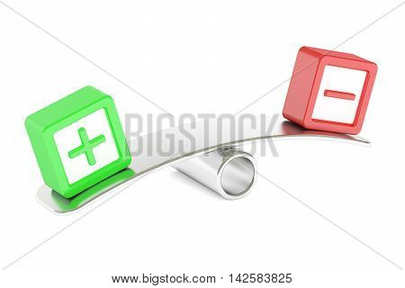 Balance concept plus or minus 3D rendering isolated on white background