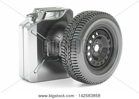 Spare wheel and canister 3D rendering isolated on white background