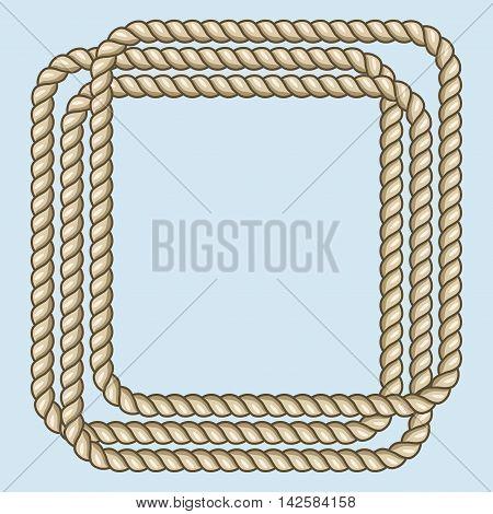 Square nautical brown ropes frame. Border string element, vector illustration