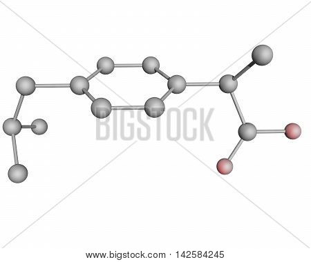 3D illustration of ibuprofen molecule with oxygen atoms highlighted in red, hydrogen atoms not shown.