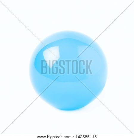 Transparent blue glass ball sphere isolated over the white background