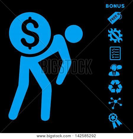 Financial Courier icon with bonus pictograms. Vector illustration style is flat iconic symbols, blue color, black background, rounded angles.