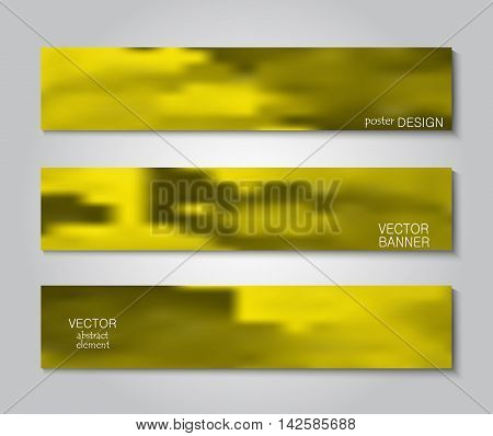 Set blurry backgrounds for creative design. Collection banners, posters in yellows tones.
