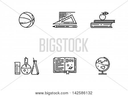 Set of school flat line vector icon. Linear books, basketball ball, globe and more. Sports, chemistry, geography, mathematics, literature.