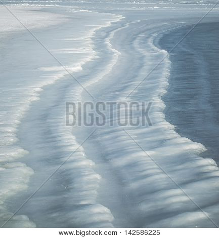 Ice wave background on the Japan sea