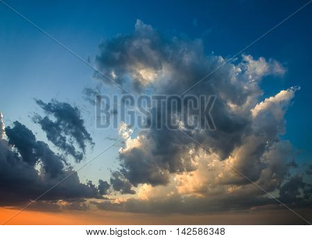 The huge thunderstorm сlouds at sunset, Russia