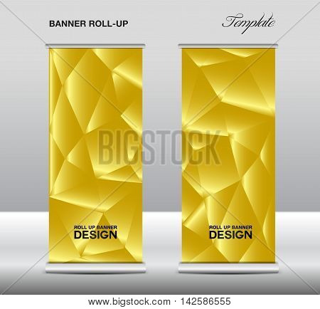 Gold Roll up banner template vector, polygon background, roll up stand, banner design, flyer, advertisement