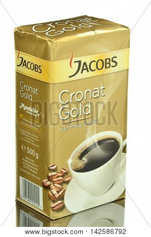 CIRCA MARCH 2016 - GDANSK:  Jacobs Cronat Gold coffee isolated on white background. Jacobs is coffee brand that traces its beginnings to 1895 in Germany by Johann Jacobs.