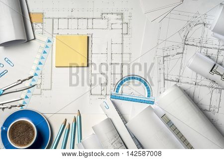 Workplace Of Architect - Rolls And Plans.