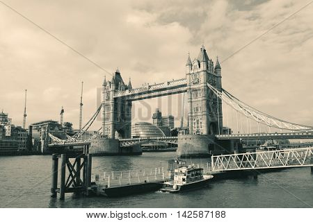 Tower Bridge closeup viewed from Katharine Pier in London.