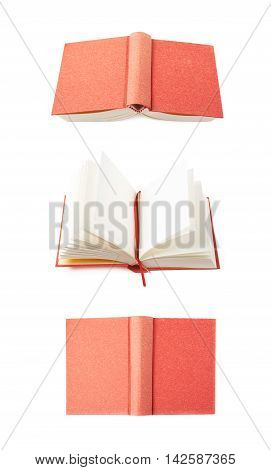 Red book isolated over the white background, set of three different foreshortenings
