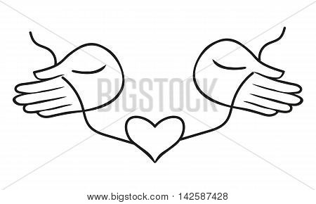 Two Hands Holding Or Giving Heart