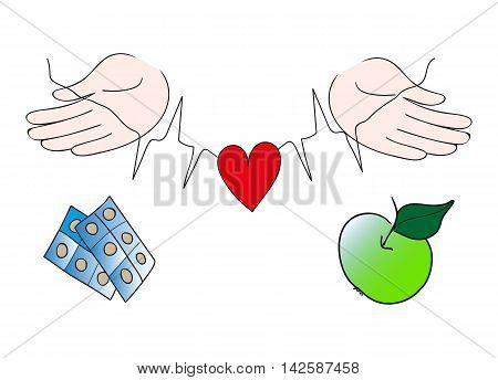 Hands Protecting Red Heart, Healthy Life Choice