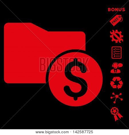 Money Folder icon with bonus pictograms. Vector illustration style is flat iconic symbols, red color, black background, rounded angles.