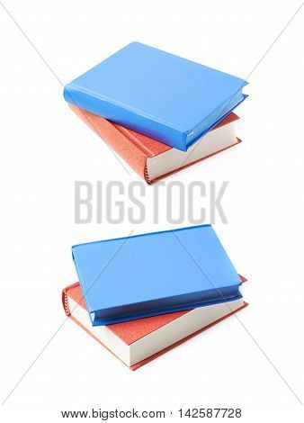 Red and blue book composition isolated over the white background, set of two different foreshortenings