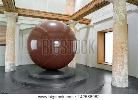 Munich, Germany- AUGUST 6, 2016: The work of Walter De Maria 'Big red sphere
