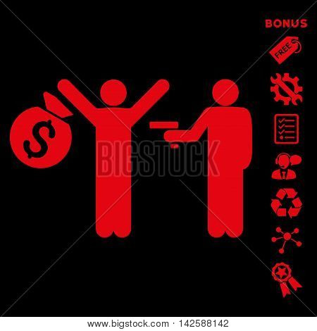 Thief Arrest icon with bonus pictograms. Vector illustration style is flat iconic symbols, red color, black background, rounded angles.