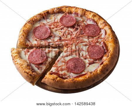 Tasty pizza with ham and salami isolated on white
