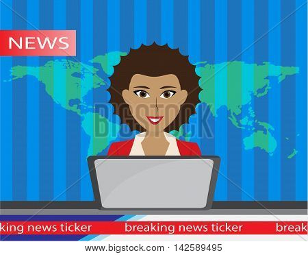 Anchorman on tv broadcast news. Anchorman flat vector illustration. Anchorman with the release of breaking news.