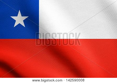 Flag of Chile waving in the wind with detailed fabric texture. Chilean national flag. 3D illustration