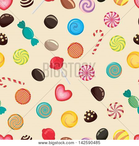 Sweet candy seamless pattern, caramel lollipop texture, colored candies without wrapper, sugar sweet-stuff vector food, design element for christmas