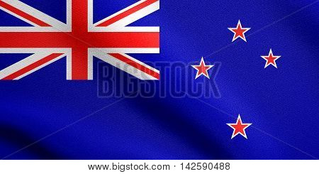 Flag of New Zealand waving in the wind with detailed fabric texture. New Zealand national flag. 3D illustration