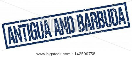 Antigua And Barbuda stamp. blue grunge square isolated sign