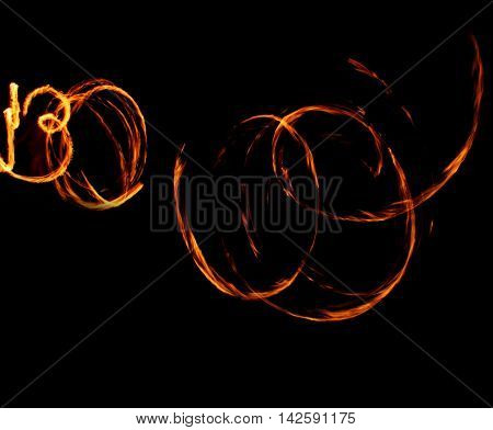 Fire Show Fiery Motion. Night Performance Abstract Drawing