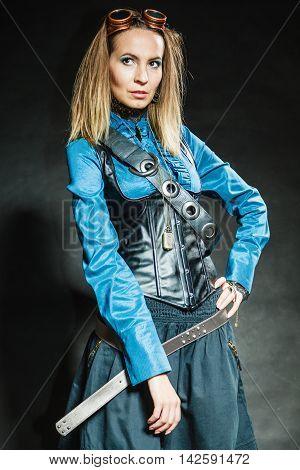 Steampunk Retro Girl Portrait.