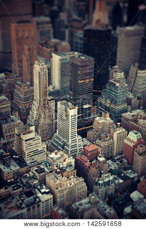 Midtown skyscraper buildings rooftop view tilt-shift in New York City
