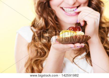 Closeup Flirty Woman Eating Fruit Cake
