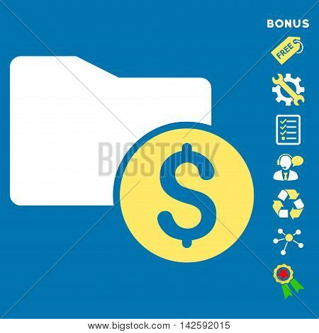 Money Folder icon with bonus pictograms. Vector illustration style is flat iconic bicolor symbols, yellow and white colors, blue background, rounded angles.