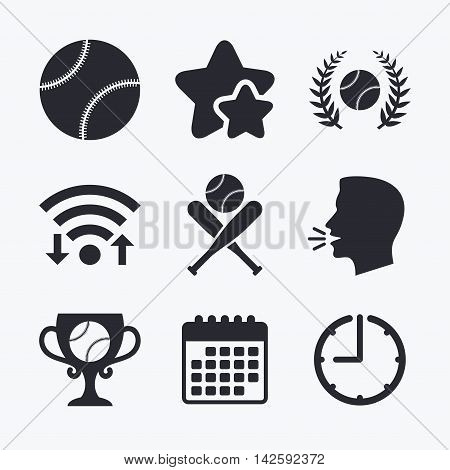 Baseball sport icons. Ball with glove and two crosswise bats signs. Winner award cup symbol. Wifi internet, favorite stars, calendar and clock. Talking head. Vector