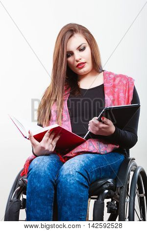 Girl With Tabled And Book.