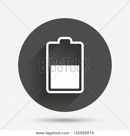 Battery half level sign icon. Low electricity symbol. Circle flat button with shadow. Vector