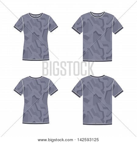 Mens and womens black short sleeve t-shirts templates with the camouflage pattern. Front and back views. Vector flat illustrations