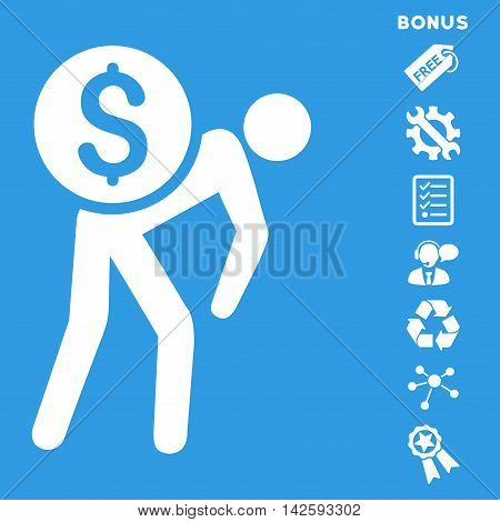 Financial Courier icon with bonus pictograms. Vector illustration style is flat iconic symbols, white color, blue background, rounded angles.