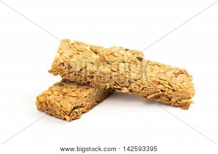 Oatmeal almond and honey cereal bar isolated on white background