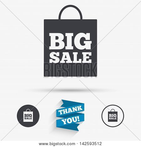 Big sale bag sign icon. Special offer symbol. Flat icons. Buttons with icons. Thank you ribbon. Vector