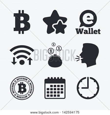 Bitcoin icons. Electronic wallet sign. Cash money symbol. Wifi internet, favorite stars, calendar and clock. Talking head. Vector