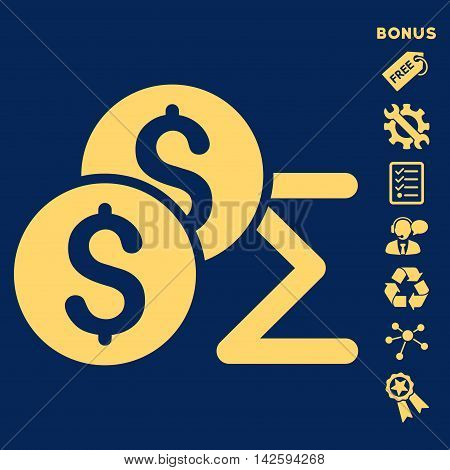 Coin Summary icon with bonus pictograms. Vector illustration style is flat iconic symbols, yellow color, blue background, rounded angles.