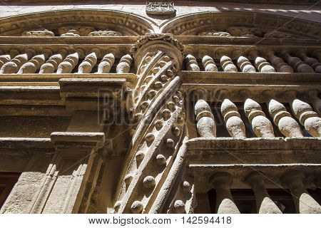 Baroque stone decoration beside the Royal Chapel outdoors at Granada Cathedral Spain