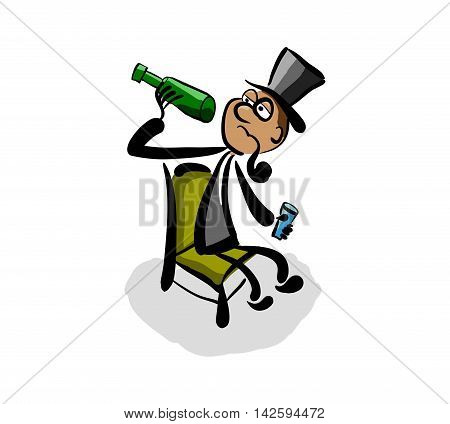 Alcoholic Aristocrat With Bottle Of Wine