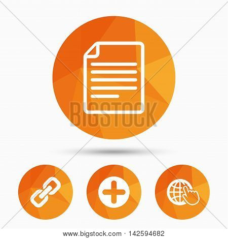 Plus add circle and hyperlink chain icons. Document file and globe with hand pointer sign symbols. Triangular low poly buttons with shadow. Vector