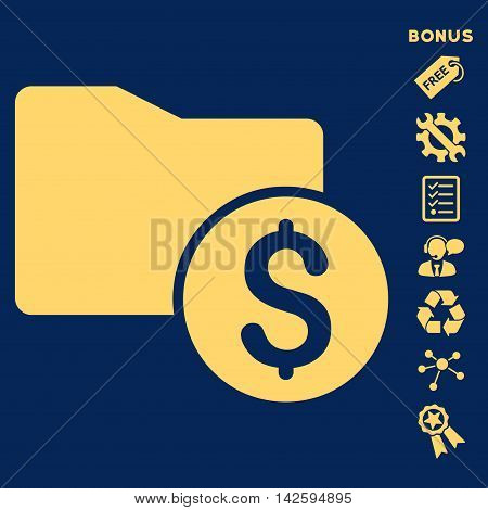 Money Folder icon with bonus pictograms. Vector illustration style is flat iconic symbols, yellow color, blue background, rounded angles.