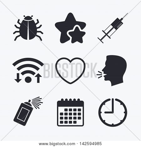 Bug and vaccine syringe injection icons. Heart and spray can sign symbols. Wifi internet, favorite stars, calendar and clock. Talking head. Vector