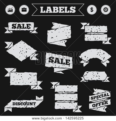 Stickers, tags and banners with grunge. Business icons. Graph chart and case signs. Dollar currency and gear cogwheel symbols. Sale or discount labels. Vector