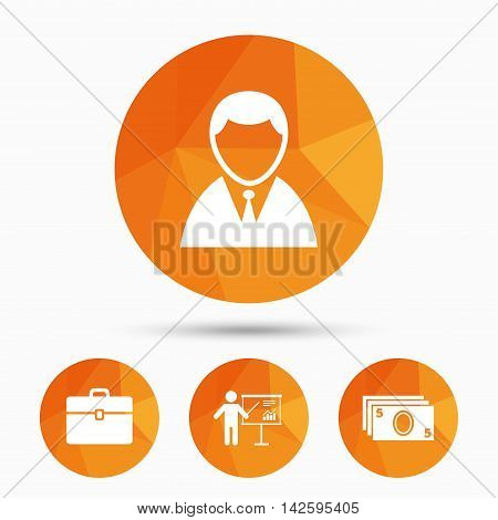 Businessman icons. Human silhouette and cash money signs. Case and presentation with chart symbols. Triangular low poly buttons with shadow. Vector